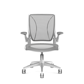 Pinstripe Mesh Black World Task Chair, Adjustable Arms, White Frame,Black,hi-res