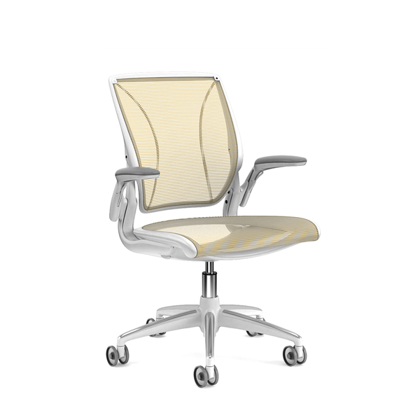 Pinstripe Mesh Yellow World Task Chair, Adjustable Arms, White Frame,Yellow,hi-res