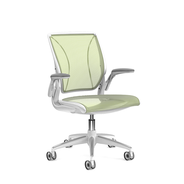 Pinstripe Mesh Green World Task Chair, Adjustable Arms, White Frame,Green,hi-res