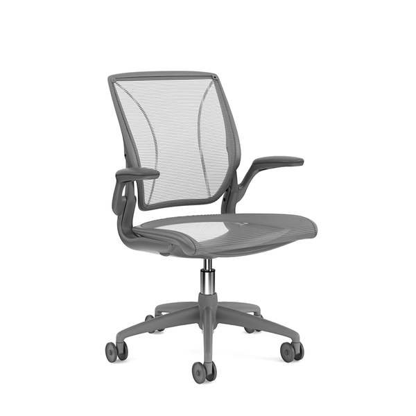 Pinstripe Mesh Silver World Task Chair, Fixed Arms, Gray Frame,Silver,hi-res