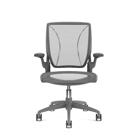 Pinstripe Mesh Black World Task Chair, Fixed Arms, Gray Frame,Black,hi-res