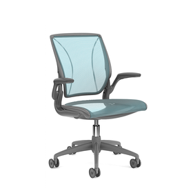 Pinstripe Mesh Blue World Task Chair, Fixed Arms, Gray Frame,Pool Blue,hi-res