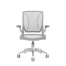 Pinstripe Mesh Silver World Task Chair, Fixed Arms, White Frame,Silver,hi-res