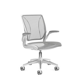 Pinstripe Mesh Gray World Task Chair, Fixed Arms, White Frame,Gray,hi-res