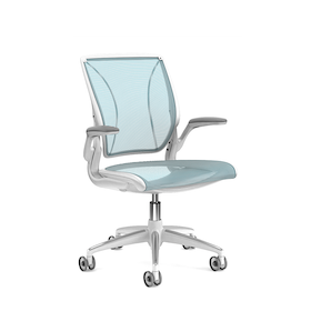 Pinstripe Mesh Blue World Task Chair, Fixed Arms, White Frame,Pool Blue,hi-res