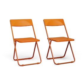 Orange Slim Folding Chair, Set of 2,Orange,hi-res