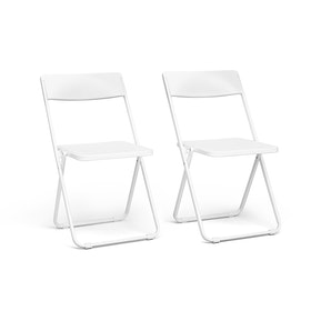 White Slim Folding Chair, Set of 2,White,hi-res