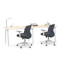 """Series A Single Desk for 2, Light Oak, 47"""", White Legs,Light Oak,hi-res"""