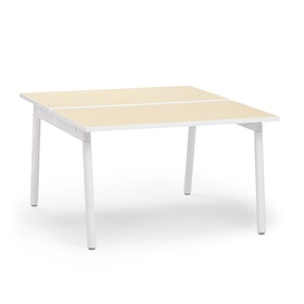 "Series A Double Desk for 2, Light Oak, 47"", White Legs,Light Oak,hi-res"
