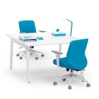 """Series A Double Desk for 2, White, 47"""", White Legs,White,hi-res"""