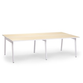 "Series A Double Desk for 4, Light Oak, 47"", White Legs,Light Oak,hi-res"