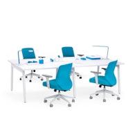 """Series A Double Desk for 4, White, 47"""", White Legs,White,hi-res"""
