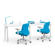 "Series A Single Desk for 2, White, 47"", White Legs,White,hi-res"