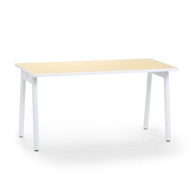 "Series A Single Desk for 1, Light Oak, 57"", White Legs,Light Oak,hi-res"