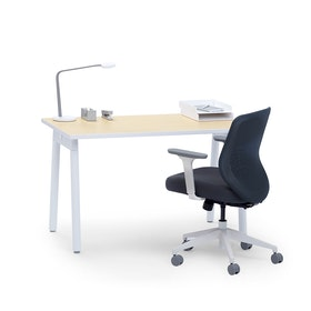 "Series A Single Desk for 1, Light Oak, 47"", White Legs,Light Oak,hi-res"