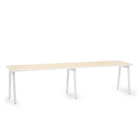 """Series A Single Desk for 2, Light Oak, 57"""", White Legs,Light Oak,hi-res"""