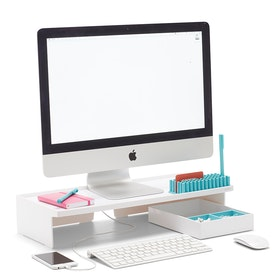 White Monitor Riser,White,hi-res