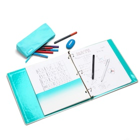 "Aqua Geo 1"" Chipboard Binder,Aqua,hi-res"