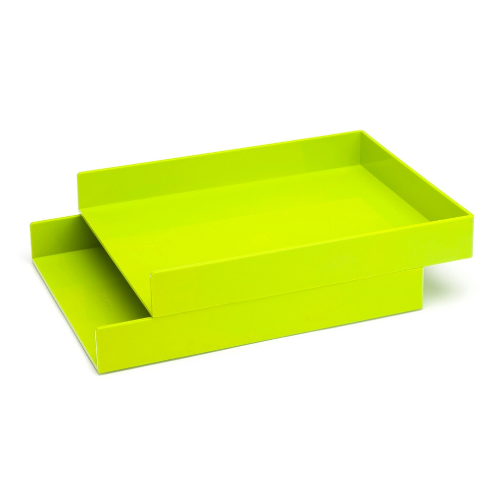 ... Lime Green Letter Trays, Set Of 2,Lime Green,hi Res