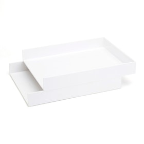 White Letter Trays, Set of 2,White,hi-res