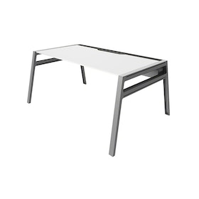 "Bivi Desk For One, White Top, 60"", Silver Frame,White,hi-res"