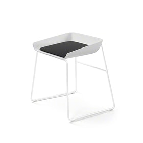 Scoop Low Stool, Black Seat, White Frame,Black,hi-res