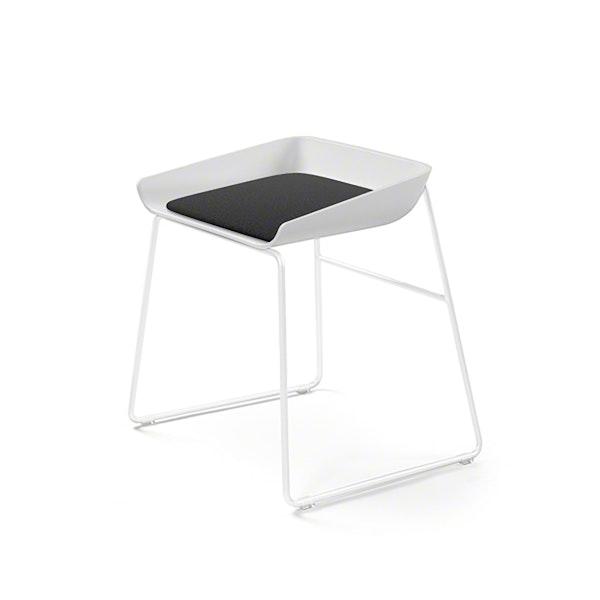 Scoop Low Stool, Black Seat, White Frame,Black,hi-res