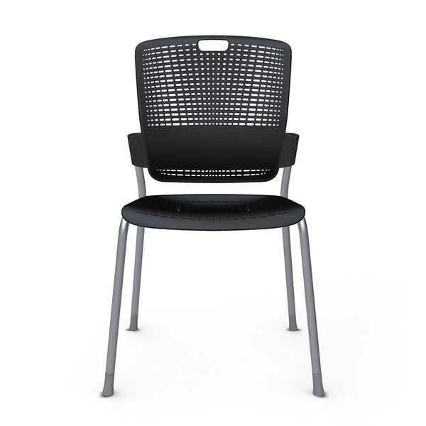 Shell Black Cinto Chair, Silver Frame,Black,hi-res