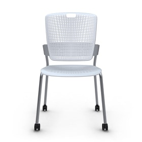Shell Light Gray Cinto Chair, Rolling, Silver Frame,Gray,hi-res