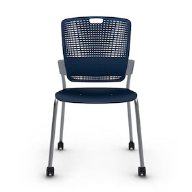Shell Blue Cinto Chair, Rolling, Silver Frame,Navy,hi-res