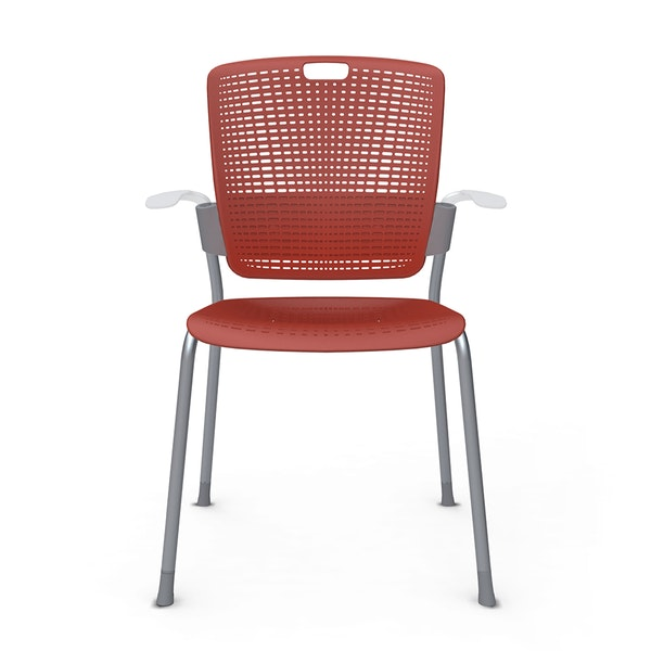 Shell Red Cinto Chair wth Arms, Silver Frame,Red,hi-res