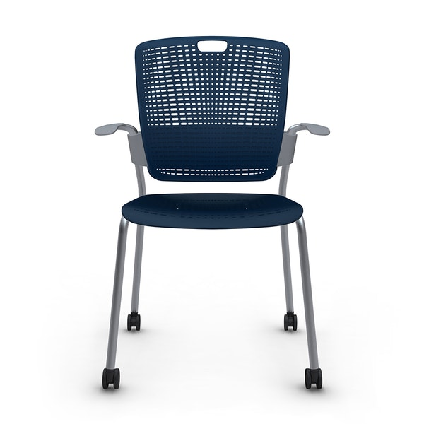 Shell Blue Cinto Chair with Arms, Rolling, Silver Frame,Navy,hi-res