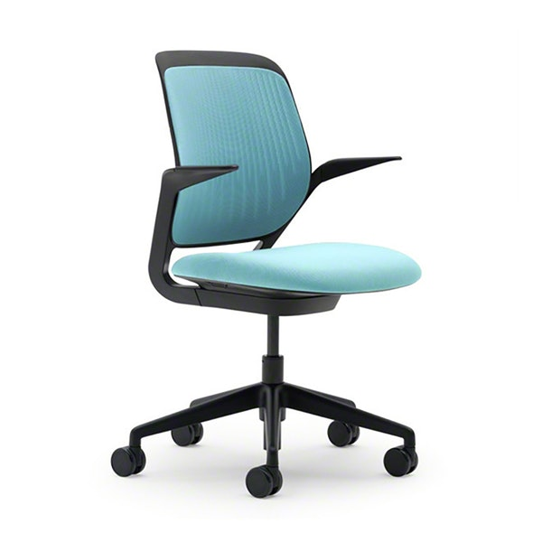 Aqua Cobi Desk Chair, Black Frame,Aqua,hi-res