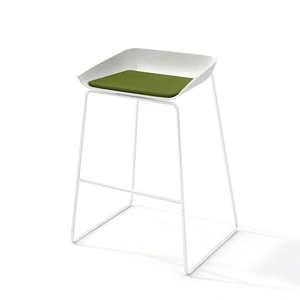 Scoop Bar Stool, Green Seat Pad, White Frame,Green,hi-res