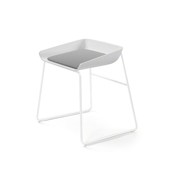 Scoop Low Stool, Gray Seat, White Frame,Gray,hi-res
