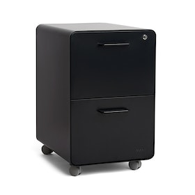 Black Stow 2-Drawer File Cabinet, Rolling, Fully Loaded,Black,hi-res