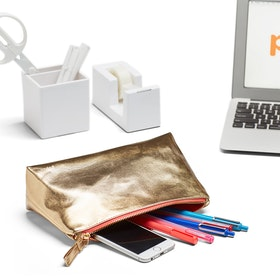Gold Medium Accessory Pouch,Gold,hi-res