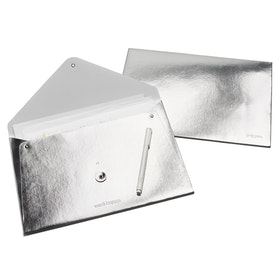 Silver Soft Cover Folio,Silver,hi-res