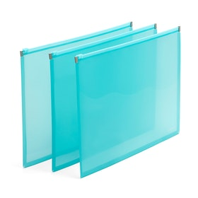 Aqua Zip Folios, Set of 3,Aqua,hi-res