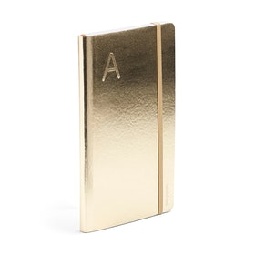 Gold Medium Soft Cover Notebook with Blind Deboss Initial,,hi-res