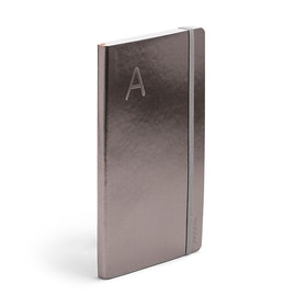 Gunmetal Medium Soft Cover Notebook with Blind Deboss Initial,,hi-res