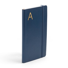Navy Medium Soft Cover Notebook with Gold Foil Initial,,hi-res
