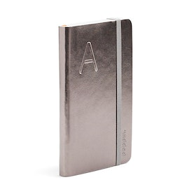 Gunmetal Small Soft Cover Notebook with Blind Deboss Initial,,hi-res