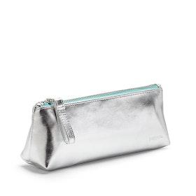 Silver + Aqua Pencil Pouch,Silver,hi-res