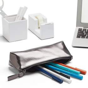 Gunmetal + Navy Pencil Pouch,Gunmetal,hi-res