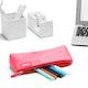 Pink + Aqua Pencil Pouch,Pink,hi-res