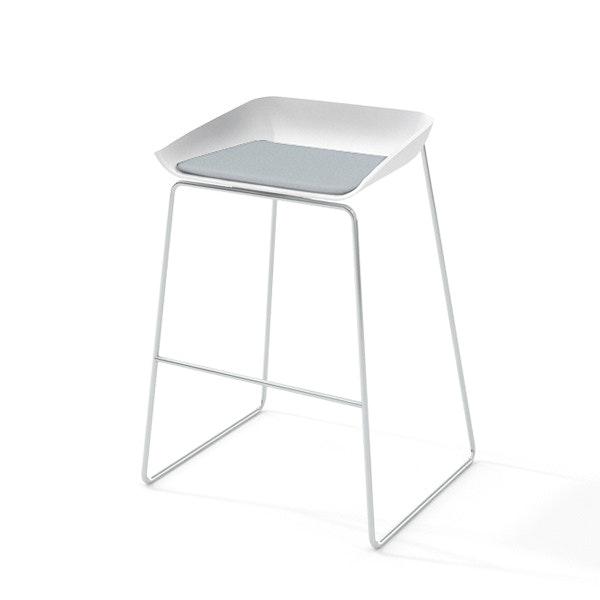 Scoop Bar Stool, Gray Seat, Silver Frame,Gray,hi-res