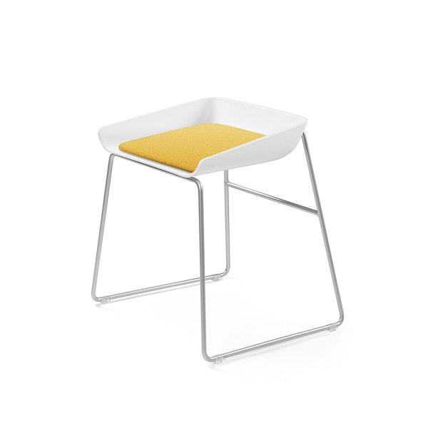 Scoop Low Stool, Yellow Seat, Silver Frame,Yellow,hi-res