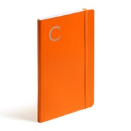 Orange Medium Soft Cover Notebook with Silver Initial,,hi-res