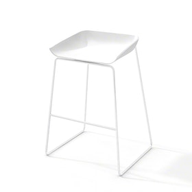 Scoop Bar Stool, White Frame,White,hi-res
